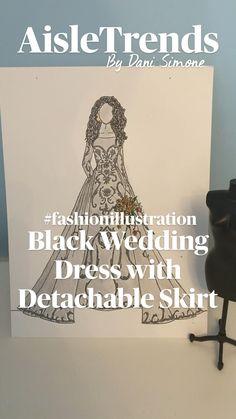 Black Wedding Gowns, Colored Wedding Dress, Fashion Design Sketchbook, Fashion Sketches, Wedding Dress Illustrations, Halloween Bride, Dress Sketches, Illustrators On Instagram, Under Dress
