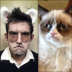 grumpy cat halloween costume-I'm weirded out that I thought the man was Ben Afleck when I first saw this.