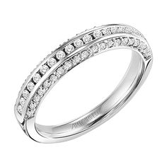 Artcarved 14Kt White Gold and Diamond Wedding Band