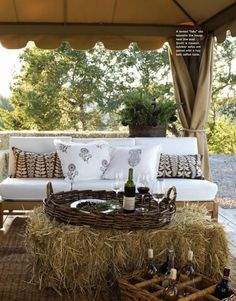 Patio Furniture, Throw Pillows & Other Outdoor Décor Essentials Outdoor Couch, Outdoor Rooms, Outdoor Fun, Outdoor Living, Outdoor Decor, Tent Living, Outdoor Ideas, Backyard Ideas, Garden Ideas