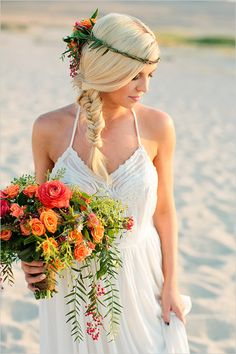 Tips on how to get this fishtail braid look. Captured by Callie Hobbs Photography. #weddingchicks http://www.weddingchicks.com/2014/08/19/sunset-beach-hair-and-bouquet/