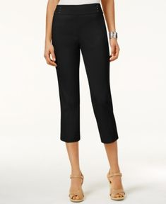 Jm Collection Embellished Pull-On Capri Pants, Created for Macy's - Black XL