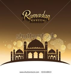 vector holiday illustration of shiny Ramadan Kareem label. with typographic lettering ''Ramadan kareem'' of moslem holy month with mosque building and sparkles.