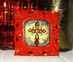 Coat of Templar Hand Painted Marble Glass Art by GlassByPriscilla