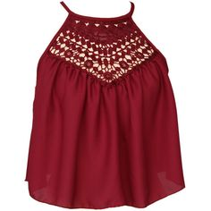 Red Halter Lace Panel Cut Out Crop Top (€21) ❤ liked on Polyvore featuring tops, red halter top, tie halter top, halter-neck tops, halter neck tops and halter crop top