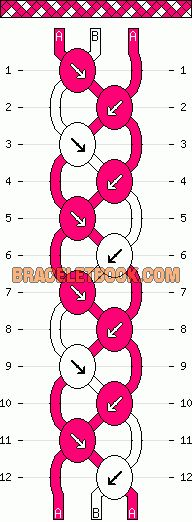 basketweave easy diagonal stripe friendship bracelet pattern three 2 color 3 string
