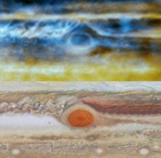 Radio image (top), made with the VLA, and optical image (bottom) made with the NASA/ESA Hubble Space Telescope, of Jupiter's Great Red Spot. The radio image shows the complex upwellings and downwellings of ammonia gas 18-56 miles (30-90 km) below the visible clouds. Image credit: Imke de Pater et al / NRAO / AUI / NSF / NASA / ESA.