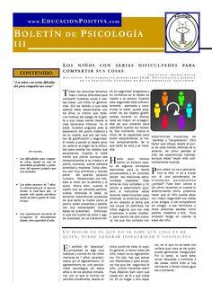 Psychology newsletter: The child with difficulty sharing things (spanish) by Juan J. Ibáñez Solar  Boletín de Psicología. El niño con dificultades para compartir las cosas. Juan J. Ibáñez Solar