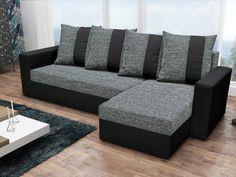 Rohová sedačka PRAGA, šedá látka/černá ekokůže Rohová sedačka PRAGA Obrázky rozložené sedačky jsou ilustrativní (jiná barva)! Sedačka je univerzální = roh lze smontovat na pravý i levý. Zadní část sedačky je potažená látkou, je tedy … Couch, Interior, Modern, Furniture, Home Decor, Products, Prague, Closet Storage, Homes