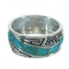 Genuine Sterling Silver Water Wave Turquoise Ring Size 7-1/4 RX68969