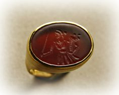 """The godess of Luck"" Carnelian intaglio inspired by ancien Greek coin 150-120 B.C. showing the godess of Luck"