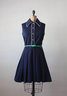 1960's nautical day dress  navy/kelly/white!