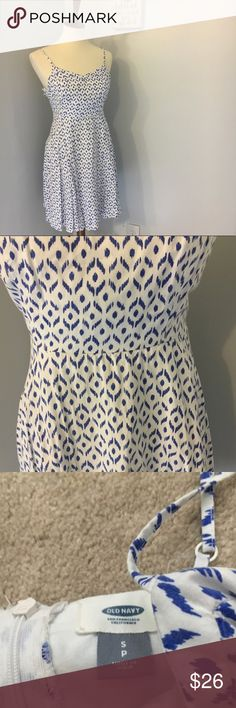 Old navy blue and white tribal casual dress Size small. No trades. 14 inch bust and 35 inch length. GUC. E215. No modeling Old Navy Dresses Mini