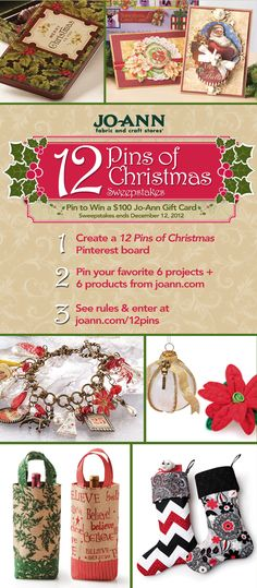 Join @JoAnn Stores for our #12Pins of Christmas #Sweepstakes! Pin 6 products from joann.com & 6 projects from http://www.joann.com/project-home/ to your 12 Pins of Christmas board. Then enter here: http://www.joann.com/12pins