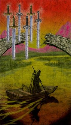 Tarot of Reflections: 6 of Swords. Always an enchanting card, particularly so in this deck.