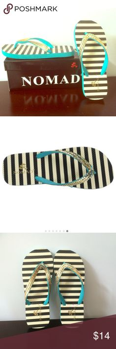 Nomad Flare Turquoise Slipper New In Box : Up for sale are these Nomad slippers that are not your average! This flip flop features a graphic zebra stripe footbed topped off w/ 3 rows of gold sequins sewn on. Get noticed when you pair these w/ a bohemian style skirt & peasant top. Originally purchased for $22. Kept in storage, never worn! Nomad Shoes Slippers