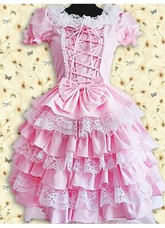 Cotton Pink Lace Sweet Lolita Dress