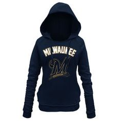 Milwaukee Brewers 5th & Ocean by New Era Women's Hot Corner Pullover Hoodie - Navy