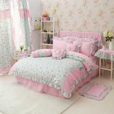 Perfect Gift For Girls Sweet Flowers Light Green Polka Dot Bedding Princess Bedding Girls Bedding Duvet Cover Set Full Size * Check out this great product. Pink Bedrooms, Shabby Chic Bedrooms, Girls Bedroom, Bedroom Decor, Draps Design, Designer Bed Sheets, Polka Dot Bedding, Beautiful Pink Roses, Flower Lights