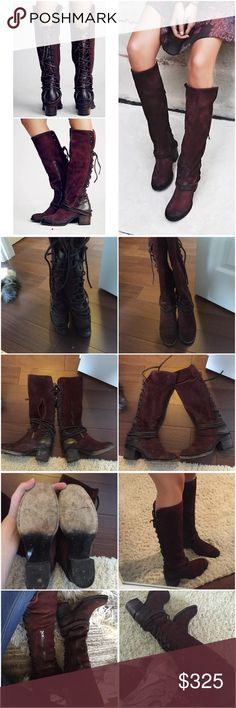 Free people freebird by Steven coal boots wine Gently used. See all photos for details. Distressed wine colored suede. Lace up back with brown leather. Sz 8. Side zipper closure. Fits true to size. Retail $350. No trades. Brand is freebird by Steven sold at free people Free People Shoes Lace Up Boots