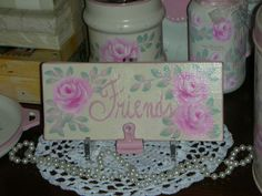 """FRIENDS PHOTO CLIP  8x.75x3.5"""" ej pink roses shabby chic cottage hand paint BC3 #Handmade #Cottage #FRIENDS"""
