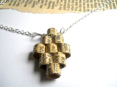 Book page diamond necklace, jewelry made from recycled books. $35.00, via Etsy.