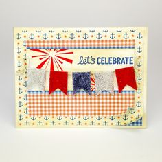 Lets Celebrate Card by Tiffany Johnson for Scrapbook Adhesives by 3L Blog - cute card for Independence Day or a BBQ! Features 3D Foam Pennants, #Graphic45 and #LawnFawn https://www.scrapbook-adhesives.com/blog/2014/07/04/its-independence-day/