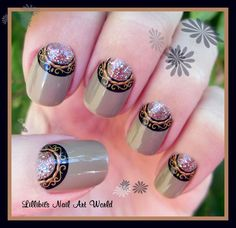 Lillibit´s Nail Art World: Manicura half moon con water decals de KkCenterHK