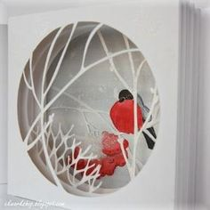 This is beautiful - maybe xmas cards - just color pic of bird just cut simple tree lines 3d Cards, Pop Up Cards, Xmas Cards, Kirigami, Diy Paper, Paper Crafts, 3d Paper Art, Tunnel Book, Winter Cards