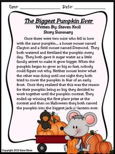 """THE BIGGEST PUMPKIN EVER ~ Written By Steven Kroll... This October and Halloween Unit now has 101 pages of ideas, activities, printables, graphic organizers and foldables that correlate with the book """"The Biggest Pumpkin Ever."""" $"""