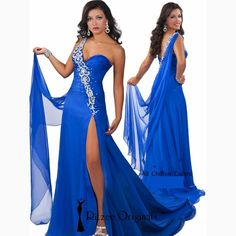 >> Click to Buy << Long Sexy Royal Blue Prom Dresses 2017 Split Mermaid Backless Rhinestone Crystal Chiffon Evening Ritzee Originals Brand #Affiliate