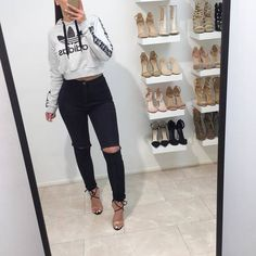 A fashion look from July 2017 featuring high heel booties and crop tops. Browse and shop related looks. Swag Outfits, Girly Outfits, Classy Outfits, Fall Outfits, Cute Outfits, Fashion Outfits, Fashion Clothes, Fashion Ideas, Aaliyah