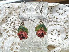 earrings vintage rose spring bird assemblage by lilyofthevally