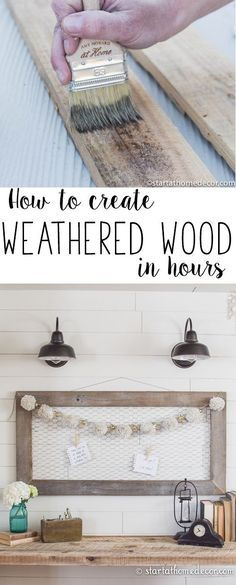 to Create Weathered Wood in Hours How to create weathered wood in hours. Beautiful shiplap walls with reclaimed wood!How to create weathered wood in hours. Beautiful shiplap walls with reclaimed wood! Into The Woods, Easy Home Decor, Handmade Home Decor, Home Decor Hacks, Wood Home Decor, Home Decor Signs, Diy Holz, Ship Lap Walls, Diy Wood Projects