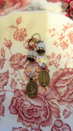 Religious Medal Assemblage Earrings by BerthaLouiseDesigns on Etsy
