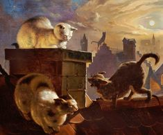 "Fedor Flinzer (German, 1832-1911), ""Cats on a ridge of a roof at full moon"""