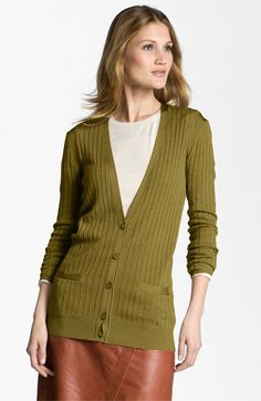 Classiques Entier® 'Refined' Ribbed V-Neck Cardigan available at #Nordstrom