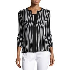 St. John Collection Kiklos Striped Zip-Front Jacket (€705) ❤ liked on Polyvore featuring outerwear, jackets, striped jacket, peplum jackets, stripe jacket, st john jackets and striped peplum jacket