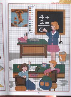 Graph Crochet, School Items, Cross Stitch Embroidery, Needlepoint, Design Inspiration, Textiles, Kids Rugs, Teacher, Canvas
