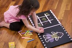 DIY kids chalkboard for cheap! My niece would love this! @RufflesandStuff