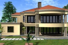 Need two additional bedrooms. Not quite so 'show-offish'. This cost here might be more manageable House Roof Design, Flat Roof House, 2 Storey House Design, Round House Plans, Free House Plans, Modern House Plans, Double Storey House Plans, House Plans South Africa, Circle House