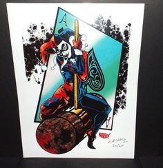 Harley Quinn Art Print (8.5 x 11) Signed By Artist RM States