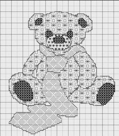 Grille Gratuite Blackwork Un Teddy Bear Brodé par blackwork teddy bear Motifs Blackwork, Blackwork Cross Stitch, Blackwork Embroidery, Cross Stitching, Cross Stitch Embroidery, Applique Patterns, Cross Stitch Patterns, Stitch Stuffed Animal, Chicken Scratch Embroidery