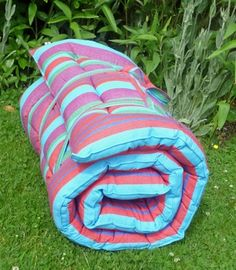 Roll Up Padded Beach Mat With Pillow Cortez Stripe 163 49