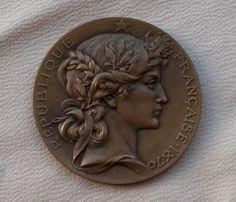 Vintage French Art Medal Bronze 19th Century Republique Française