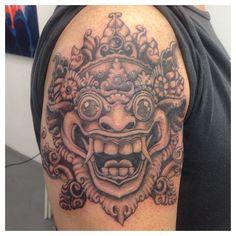 #indonesian #barong #mask #blackandgrey #tattoo #ink #tattoostudio #blaowww #conceptstore #budijoseph #tattoozutphen #holland www.blaowww.com/tattoo/