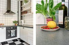 Kitchen at Norra Gubberogatan. Floor from Marmoleum clic. Counter design Virrvarr by Bernadotte. Handels from Byggfabriken.