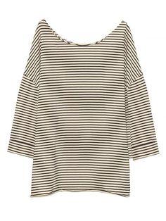 American Vintage Rico Stripe T-Shirt: Boat collar, 7/8 sleeves, striped ecru/ navy t-shirt by American Vintage.
