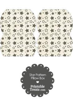 Small Vintage Black Star Pattern Pillow Box from PrintableTreats.com