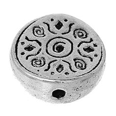 Round spacer Antique Silver 12mm (approx 25 count per 2 ounces) * Zinc Metal Alloy